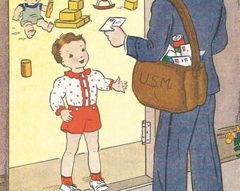 Vintage children's book illustration mailman boy baby digital download printable instant image