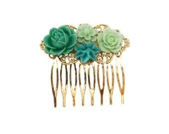 Teals & Greens Floral Gold Filigree Hair Comb