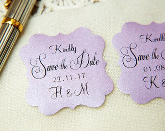 Lilac Purple Printed Save The Date seals. Custom printed Wedding stickers. personalised Pearlised Envelope seals. Wedding favours