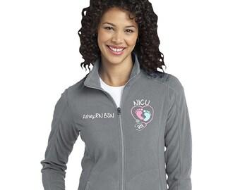 NICU Nurse Fleece Jacket with FootPrints Stethoscope -RN Lpn zipup light weight fleece jacket with several color options-SWEETSIXTEEN