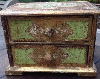 Jewellery box with 2 drawers, Venetian style