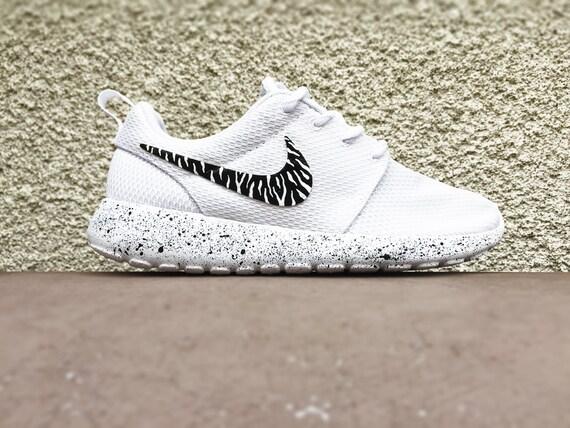 qwygy Custom Nike Roshe All white White on white zebra by CustomSneakz