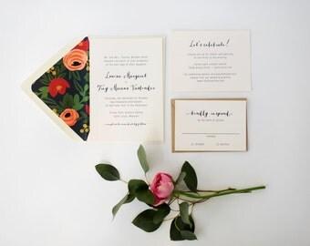 louisa wedding invitation sample //  navy blue floral neutral calligraphy rifle paper liner custom romantic modern invite