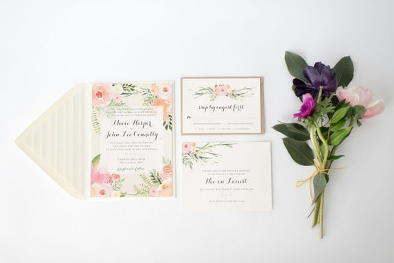 maeve wedding invitation sample set  -  rustic watercolor floral  // lola louie paperie