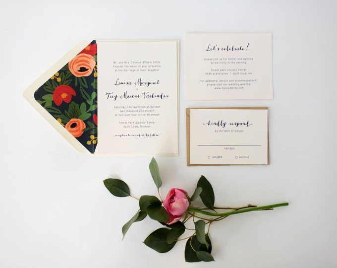 louisa wedding invitation sample set   //  navy floral neutral calligraphy rifle paper liner custom romantic modern invite