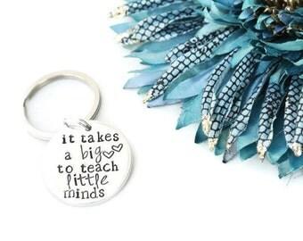 It Takes A Big Heart to Teach Little Minds Keychain | Daycare Teacher Gifts | Teacher Appreciation Gift | Pre K Teacher Gifts