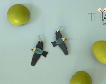 Bird Earrings,Roller Earrings,Reclyed plastic Earring,Weightlight earrings,grey earrings,colourfull earrings,wild life,birds,recycling