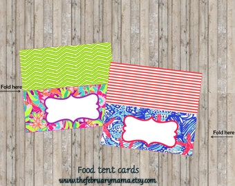 Lilly Pulitzer Foot Tent Cards, Food labels, Lilly Pulitzer Party decor