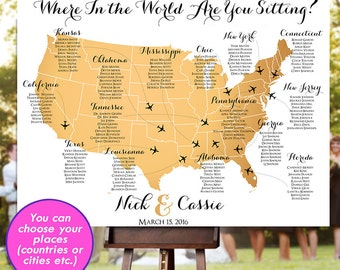 Travel poster etsy wedding seating chart rush service gold usa world map plane travel theme reception poster gumiabroncs Choice Image
