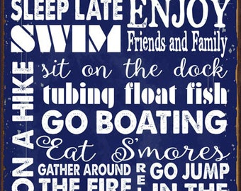 Lake House Rules Navy Blue Metal Sign, Rustic Getaway, Family, Rules To Live By, Cabin  HB7064-N