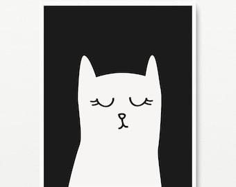 Cat wall art giclee print- Black and white nursery art- Modern room decor- (AP-003)