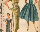 Vintage 1950s Simplicity Sewing Pattern 1566- Misses' Dress with two skirts, detachable collar size 16 bust 34
