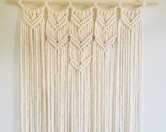 Cream Colored Handmade Macrame Wall Hanging