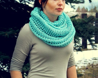 Soft Sage Infinity Scarf, Knitted Scarf, Knit, Crochet, Spring Scarf, Accessories