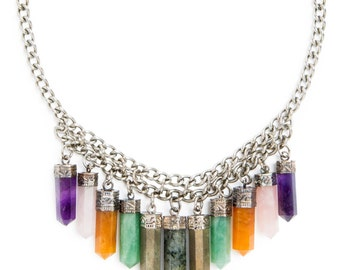 Cali Crystal Necklace | Silver / Multi