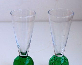 Two Gorgeous Vintage Controlled Bubble Glasses/Vases- Green Glass-Fluted/Flared