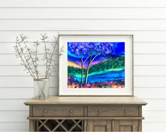 Double Tree Ink Landscape–Alcohol ink/Mixed Media Print/Landscape PrintForest Print/Forest Art/Tree Art/Tree Painting/Colorful Decor