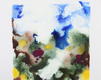 "abstract painting - encaustic art - ""August"" - original encaustic landscape painting - modern art"