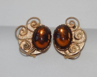 Vintage Gold Tone Amber Stone Clip On Earrings Amber Cabochon Vintage Earrings