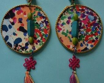 Big light weight multi colored earrings