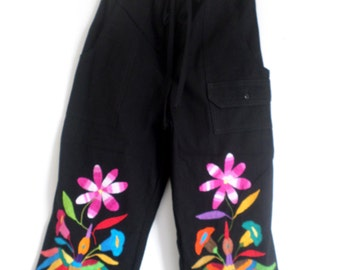 "Otomi Women's Capri pants ""TINA"" black and multicolor handmade, hand embroidered by #otomi indigenous women"