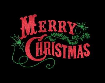 Merry Christmas Iron On Vinyl Or Glitter Vinyl Holidays Heat T-shirt Transfer