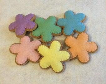 Felt Spring Flower Cookies, Felt Food, Pretend Play, Play Food