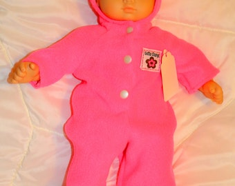"Bitty Baby size handcrafted bright pink fleece bunting.  Fits Bitty Baby and other 15-16""dolls"