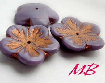 Extra Large Purple Flower with Copper Czech Glass Beads, 4 pc Flat Flower, 23mm Beads