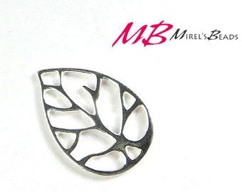 15x22mm Outline Leaf Charm, Large Leaf Pendant