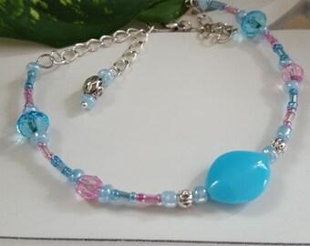 Beaded bracelet, beaded ankle bracelet, memory wire bracelet, handmade bracelet, handmade accessory, pink and turquoise bracelet,
