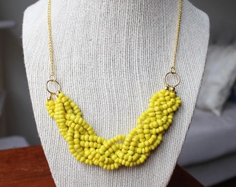 Yellow Statement Necklace with Gold Chain, Yellow Braided Bead Necklace, Yellow Multistrand Necklace, Gold Chain