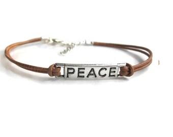 Peace bracelet, leather bracelet, mens bracelet, casual bracelet, layering bracelet, unisex bracelet