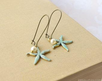 Starfish earrings pearl Blue patina verdigris starfish dangle earrings, Vintage style starfish jewelry pearl Ocean inspired kidney ear wires