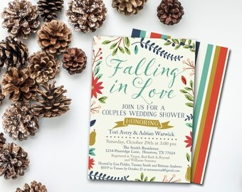 Fall Couples Shower Invitation, Falling in Love Couples Shower Invite, Couples Wedding Shower Printable INSTANT DOWNLOAD, DIY Invitation