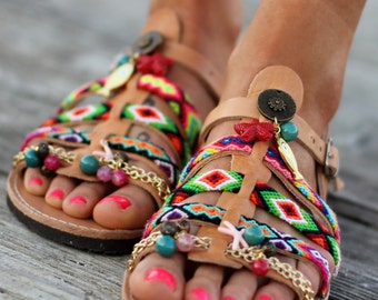 "Women's Shoes, Greek Sandals, Gladiator Leather Sandals, ""Starfish"" sandals"