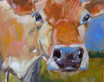 Cow 103 CRITICAL THINKER small original cow oil painting size 6 x 6 inch on 1/8th inch gessobord