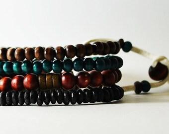 African Nubian Ocean Bracelet Handmade in Australia. Men's Streetwear OKSINC Natural Earth tones, Wooden beaded boho bracelet. Beach.