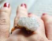 SALE! - Geode Ring Druzy Ring Crystal Gold White Natural Cut Geometric Raw Gemstone Healing Bezel Stone Rock Agate Quartz Festival Jewelry