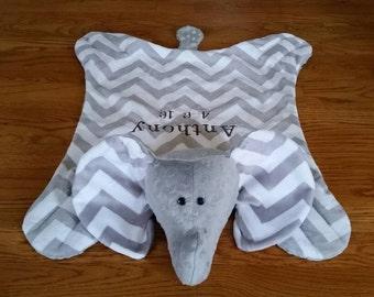 Chevron Grey & White Minky Elephant Snuggle Blanket / Soft