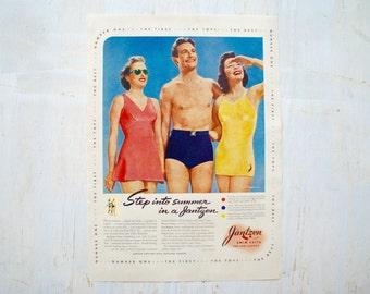 1930s - Bathing Suit Advertisement  - Vintage Bathing Suit - Antique Advertisement - Old Magazine Ad - Advertisement Print - WWII Era