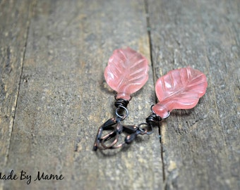 Hand Carved Boho Cherry Quartz Leaves Earrings, Oxidized Copper, Rustic Jewelry, Bohemian, Gypsy, Dark Patina, Pink Leaf Nature Jewelry