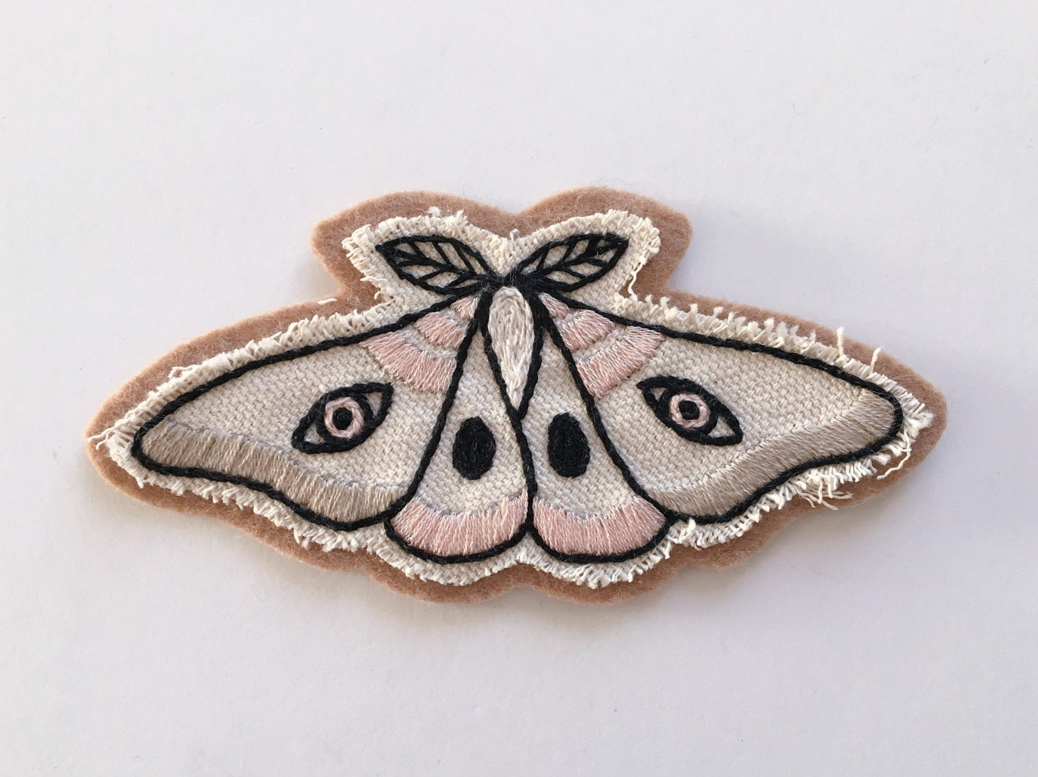 Hand Embroidered Patch Light Moth. Canvas U0026 Wool Blend By Eradura
