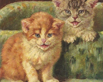 Two Sweet Little Cats Kittens Vintage Postcard PM 1908