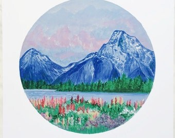 Mountain Print, Mountain Art, Flower Field Art, Field of Flowers, Nature Art, Mountain Painting, Landscape Painting, Nature Print, Boho