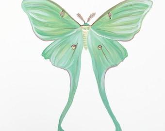 Original Luna Moth Painting, 11x14 inches