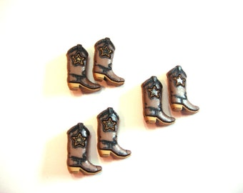 Cowboy Boot Buttons Star Jesse James Buttons Howdy Partners Dress It Up Buttons Set of 6 Brown Beige - 106