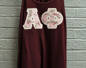 Maroon Flowy Tank With University Shop Exclusive Alpha Phi Fabric on Glitter