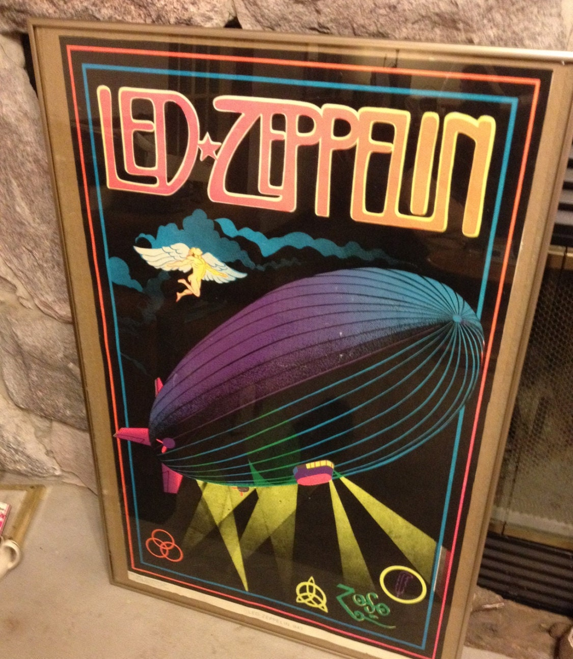 Led Zeppelin Black Light Velvet Flocked Poster Funky 1981