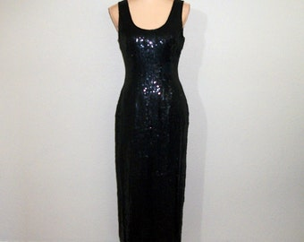 Vintage Formal Dress Evening Dress Black Sequin Dress Maxi Sleeveless Party Dress FREE SHIPPING Size 8 10 Medium Womens Vintage Clothing